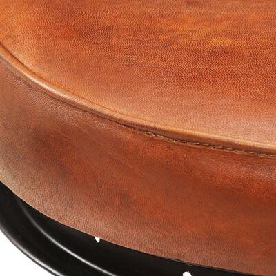 vidaXL Barkrukken 2 st echt geitenleer zwart en bruin