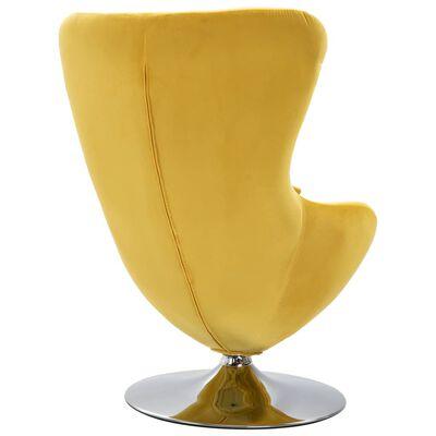 vidaXL Draaistoel eivormig met kussen fluweel geel