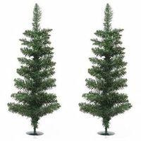 2x Groene Kunst Kerstbomen/kerstboompjes 75 Cm Met Voet -