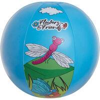 Blauwe/bloemen opblaasbare strandbal 29 cm speelgoed -