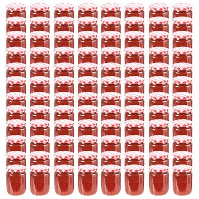 vidaXL Jampotten met wit met rode deksels 96 st 230 ml glas