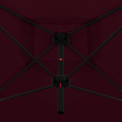 vidaXL Parasol dubbel met stalen paal 250x250 cm bordeauxrood