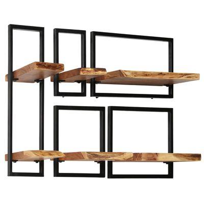 vidaXL 5-delige Wandschappenset massief acaciahout en staal,
