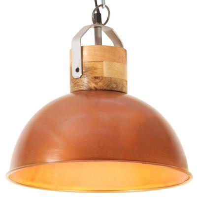 vidaXL Hanglamp industrieel rond E27 32 cm mangohout koperkleurig