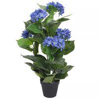 vidaXL Kunst hortensia plant met pot 60 cm blauw