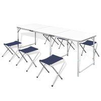Campingtafel inklapbaar en verstelbaar aluminium 180 x 60 cm 6 stoelen