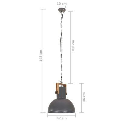 vidaXL Hanglamp industrieel rond 25 W E27 42 cm mangohout grijs