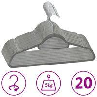 vidaXL 20-delige Kledinghangerset anti-slip fluweel grijs