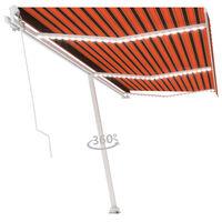 vidaXL Luifel handmatig uittrekbaar met LED 600x300 cm oranje en bruin