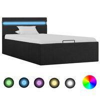 vidaXL Bedframe met opslag en LED stof donkergrijs 90x200 cm