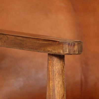 vidaXL Fauteuil echt leer met acaciahout bruin