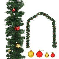 vidaXL Kerstslinger versierd met kerstballen 10 m