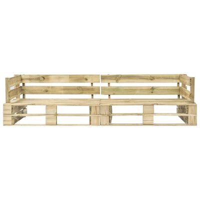 vidaXL 2-delige Loungeset pallet met zandkleur kussens grenenhout
