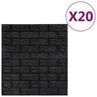 vidaXL 3D-behang zelfklevend 20 st bakstenen zwart