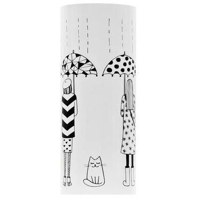 vidaXL Parapluhouder vrouwen staal wit