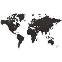 MiMi Innovations Wereldkaart muurdecoratie Luxury 90x54 cm hout zwart