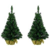 2x Kunst Kerstbomen Groen In Jute Zak 45 Cm - Tafel Kerstbomen