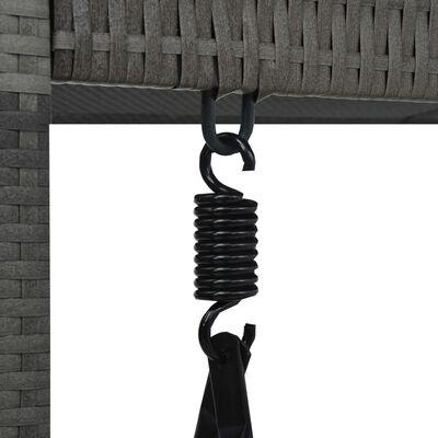 vidaXL Schommelbank 3-zits met dak poly rattan grijs