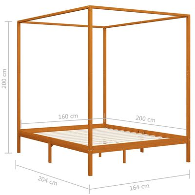 vidaXL Hemelbedframe massief grenenhout honingbruin 160x200 cm