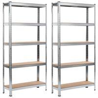 vidaXL Opbergrekken 2 st 90x30x180 cm staal en MDF zilverkleurig