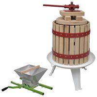 vidaXL 2-delige Fruit- en wijnpers met stamperset