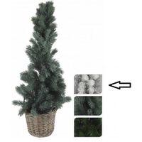 Kleine kerstboom wit in mand 80 cm - Witte kunstbomen / kunst