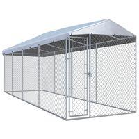 vidaXL Hondenkennel voor buiten met dak 760x190x225 m
