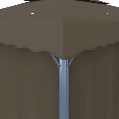vidaXL Prieel met gordijn 3x3 m aluminium taupe