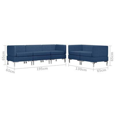 vidaXL 5-delig Bankstel stof blauw
