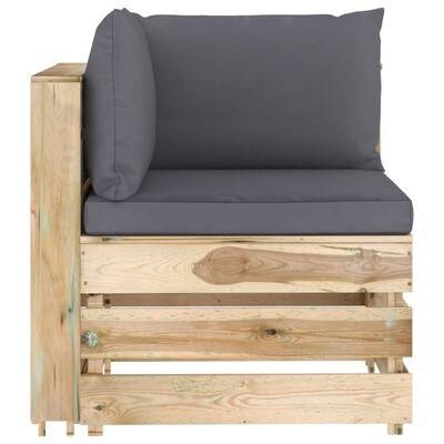 vidaXL 4-delige Loungeset met kussens groen geïmpregneerd hout