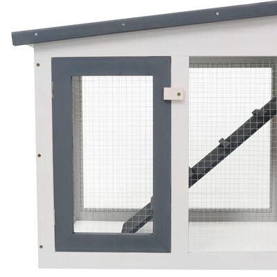 vidaXL Konijnenhok voor buiten groot 204x45x85 cm hout grijs en wit