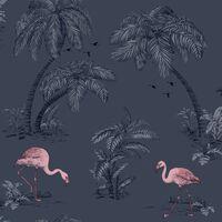 DUTCH WALLCOVERINGS Behang flamingo petrolblauw