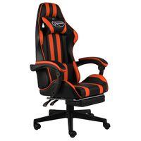 vidaXL Racestoel met voetensteun kunstleer zwart en oranje