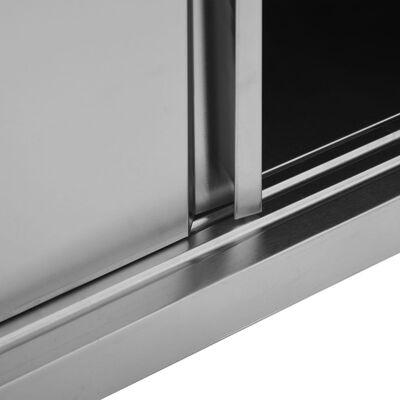 vidaXL Keukenwandkast met schuifdeuren 150x40x50 cm roestvrij staal