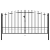 vidaXL Hekpoort dubbele deur met speren bovenkant 400x248 cm