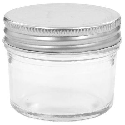 vidaXL Jampotten met zilverkleurige deksels 24 st 110 ml glas
