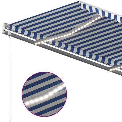 vidaXL Luifel handmatig uittrekbaar met LED 450x350 cm blauw en wit