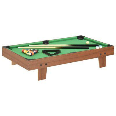 vidaXL Minipooltafel 3 Feet 92x52x19 cm bruin en groen, BrownandGreen
