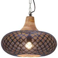 vidaXL Hanglamp industrieel E27 40 cm ijzer en massief hout zwart