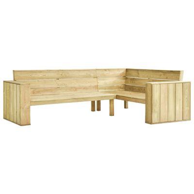 vidaXL Tuinhoekbank met kussens 239 cm geïmpregneerd grenenhout