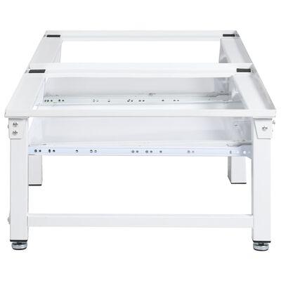 vidaXL Wasmachine- en drogerverhoger met uittrekbare schappen wit