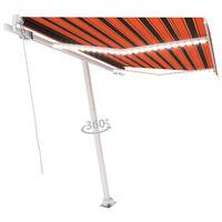 vidaXL Luifel handmatig uittrekbaar met LED 350x250 cm oranje en bruin
