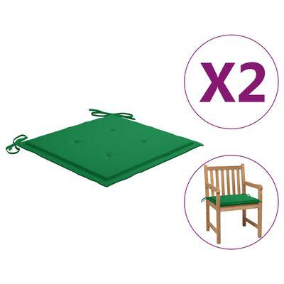 vidaXL Tuinstoelkussens 2 st 50x50x3 cm groen