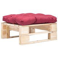 vidaXL Tuinpoef met rood kussen pallet hout naturel