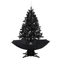 vidaXL Kerstboom sneeuwend met paraplubasis 140 cm PVC zwart