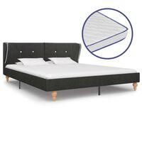 vidaXL Bed met traagschuim matras jute donkergrijs 180x200 cm