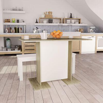 vidaXL Eettafel 110x60x75 cm spaanplaat wit en sonoma eikenkleurig
