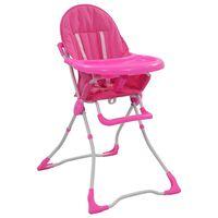 vidaXL Kinderstoel hoog roze en wit