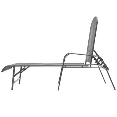 vidaXL Ligbedden 2 st met tafel staal antraciet