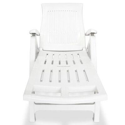 vidaXL Ligstoel met voetsteun kunststof wit